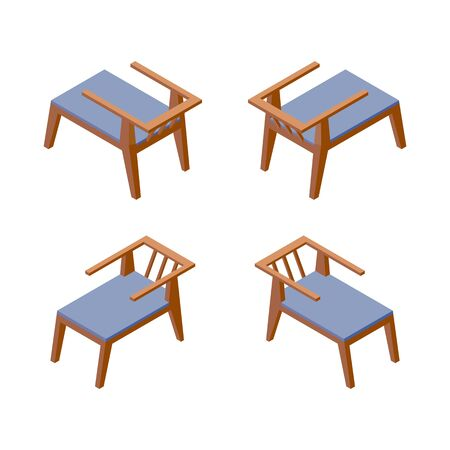 Isolated on white background isometric collection of comfortable chairs, good for hotel or spa resort in blue color. Furniture 3d set. Illustration