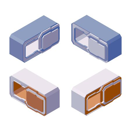 Various foreshortening of capsule hotel. Isometric vector collection with elements of modern backpacker guest house, isolated on white.