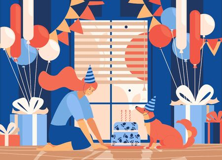 Flat illustration of pet happy birthday celebration at home. Cake with candles, dog and owner sitting on floor. Room decorated with balloons and gift boxes. Flat indoor scene in orange and blue.
