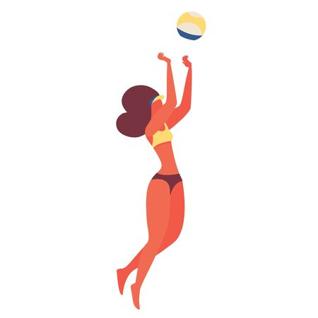 Young woman playing beach volleyball with ball. Jumping character in swimsuit isolated on white background. Vector scene illustration.
