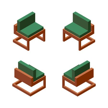 Vector collection with one comfortable chair in various foreshortening. Green fabric, wooden base. Isolated on white background collection. Illustration