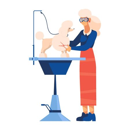 Vector concept illustration with woman in protective glasses grooming a poodle with a professional equipment, table for groomer and scissors. Flat scene good for dogs stylist salon. Standard-Bild - 132217210