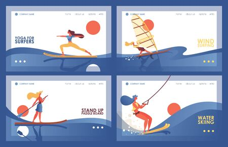 Vector set with four various banners or landing page templates with blue waves and sport women doing board exercises like surfers yoga, water skiing tour, stand up paddle boarding, windsurfing.