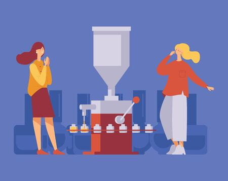 Two women happy near working nail polish filling machine. Concept illustration with modern characters in casual clothes. Isolated on blue background scene good for beauty manufacture.