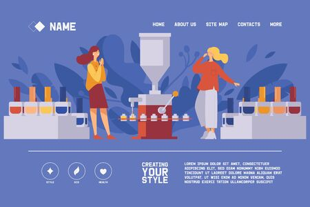 Vector concept banner on blue background good for header of nail polish manufacture. Liquid beauty products filling machine working, two girls happy. Bright colors, vivid greenery leaves.