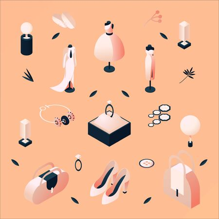 Concept fashion isometric illustration drawn with peach and blue colors. Mannequins, bags, shoes, jewelry and leaves made with beautiful pastel gradients.