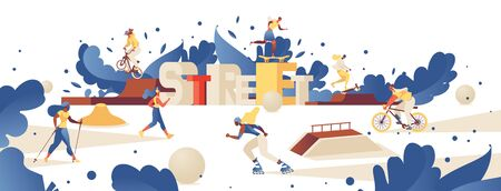 Concept illustration with lettering 3d letters street and different outdoor park activities like roller skating, bmx bike riding, training on scooter, nordic walking. Different women doing sport.