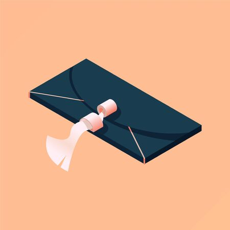 Isometric women black clutch isolated on peach background. Beautiful fashion illustration good for evening clothes boutique, stores and shop