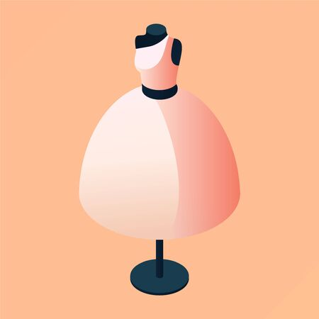 Woman mannequin in nude beige evening dress in isometric style. Isolated on peach background 3d concept illustration good for wedding boutique and event clothing store. Ilustração