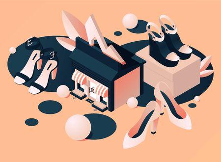Scène isomérique de concept avec la construction d'un magasin de chaussures pour femmes ou une boutique de mode sur fond de pêche. Collection de paires de talons vectoriels pour la saison estivale de couleur beige, décorée de sphères 3d.