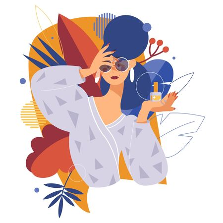Fashion and beauty illustration with woman an nail polish bottle. Modern flat style, model in large glasses, decorated with floral leaves, isolated on white background. Stock Illustratie