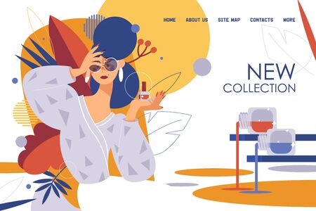 Concept banner or landing page template goof for new nail polish collection advertising. Beauty model, bottles and floral leaves.