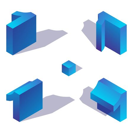 Isometric number 1 in various foreshortening views. One digit decorated with shadow and blue gradients, isolated on white background. 3d collection. Illustration