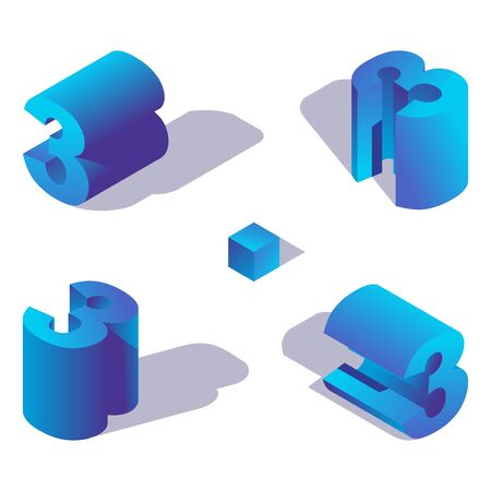 Isometric numder 3 in various foreshortening, with shadow and vibrant blue gradients. Illustration