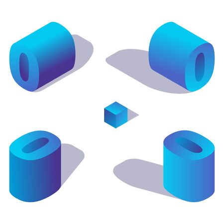 Isometric number 0 or letter o in blue color with shadows in various views. Ilustração
