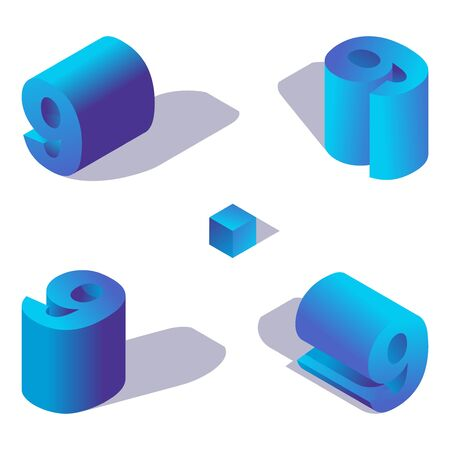 Vector collection of blue isometric number 9 in various foreshortening views with shadows.