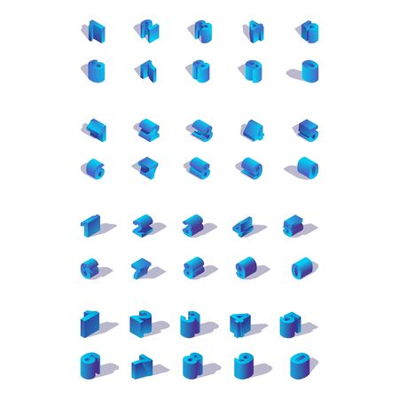 Isolated on white background isometric numbers in various foreshortenings. Blue bold digits collection.