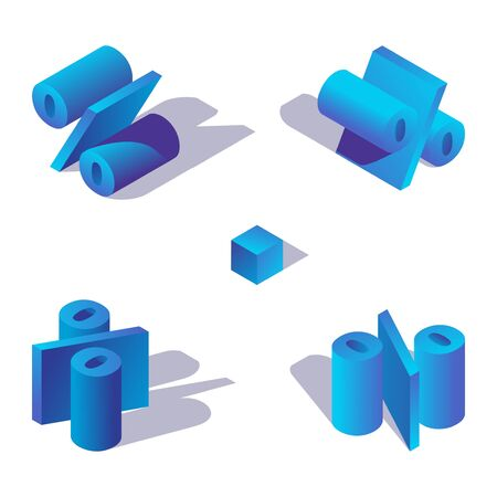 Isometric 3d alphabet element. Percent character in blue colors drawn with shadows.