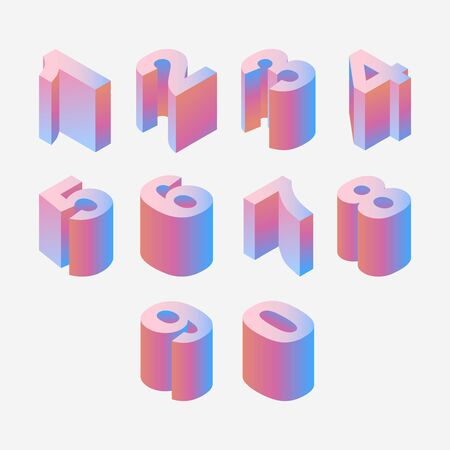 Blue and ink isometric numbers sequence from one to nine and zero. Pastel colored 3d digits Vetores