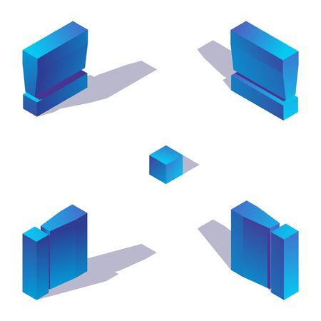 Isometric exclamation mark in various foreshortening, isolated on white background with sgadows, drawn with blue gradients.
