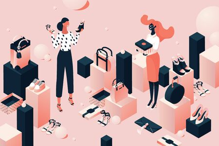 Fashion accessorie shop in isometric style. Girls or young women choosing shoes and bags. Pink and black concept illustration. Vektorové ilustrace