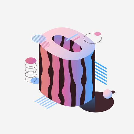 3d isometric pink and purple number zero. Vector futuristic neon count down illustration, digital design for web e-commerce sales promotion, abstract digit 0 symbol typography.