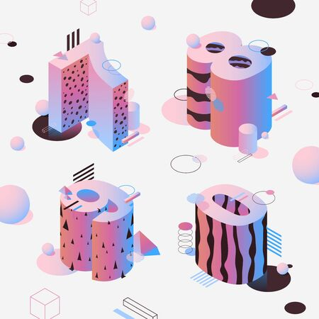 Neon isometric numbers, pink color. Fon set isometric luminous characters seven, eight, nine and zero. Vector 3d digits for typographic design Illustration