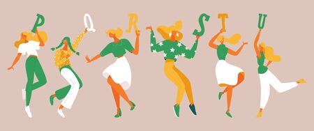 Dancing girls with elements of alphabet in their hands. English letters p, q, r, s, t, u. Green and yellow, white colors.