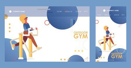Street exercise equipment girl training. Outdoor gym crossplatform landing page for mobile phone and desktop browser