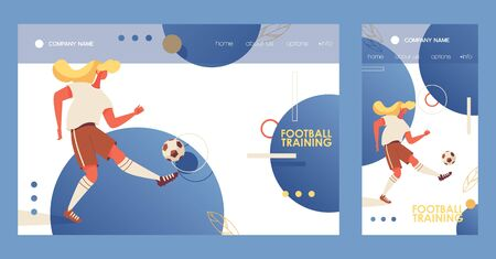 Cross platform banners for browser desktop web and mobile phone sport application about soccer football with young woman training with ball. Flat collection. Ilustrace