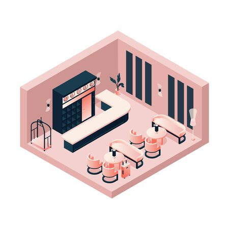 Isometric lobby, reception, lounge in pink pastel color with a hotel card or trolley, tables and chairs. Interior concept scene. Ilustrace