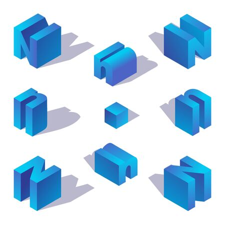 Isometric letter N. English capital blue character drawn with shadow.
