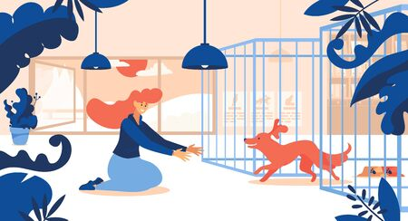 Concept scene with woman and her adopted dog running out of cage. Ginger hair, interior scene decorated with leaves. Flat happy characters.