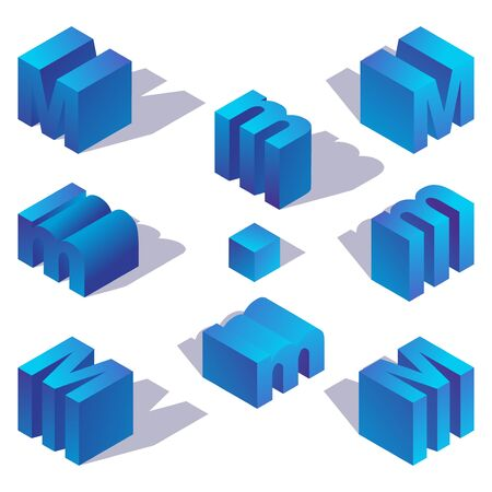 Blue gradient english isometric letter M with shadow. Illustration