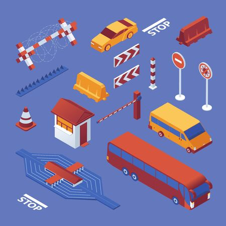 Set isometric of border closure, cars and equipment, stop coronavirus sign on blue bckground. Vector concept collection.