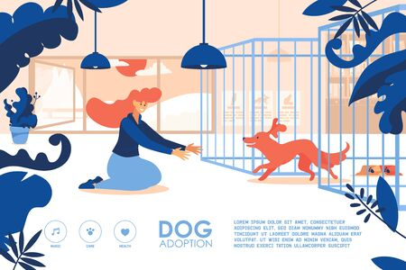Banner for the site with young girl adopting a dog at shelter. Good landing page for pets home.