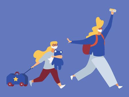 People in protective masks running with luggage and rucksack. Isolated on blue background concept illustration. Last vehicle evacuation travelling.