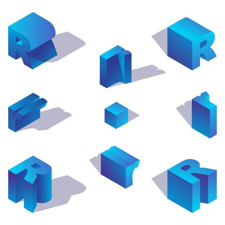 Latin letter R isometric with shadow drawn with blue gradient.