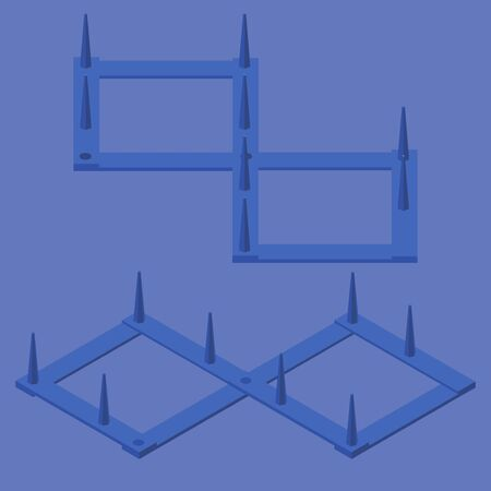 Spike strip isometric. Blue traffic spikes or stinger good for quarantine police concept scenes.