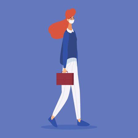 Masked woman walks to work during coronavirus. Flat character.