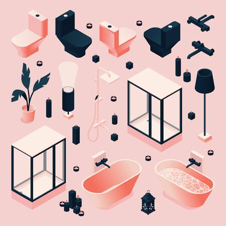 Set drawn in pink and black for bathroom with furniture and sanitary, plumbing isometric in various foreshortening. Vector concept collection. Illustration