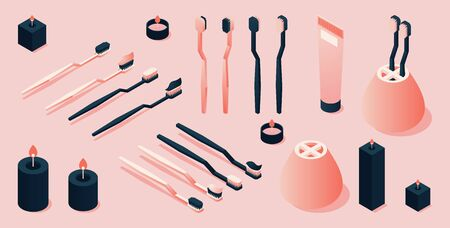 Isometric pink and black toothbrush and toothpaste collection.