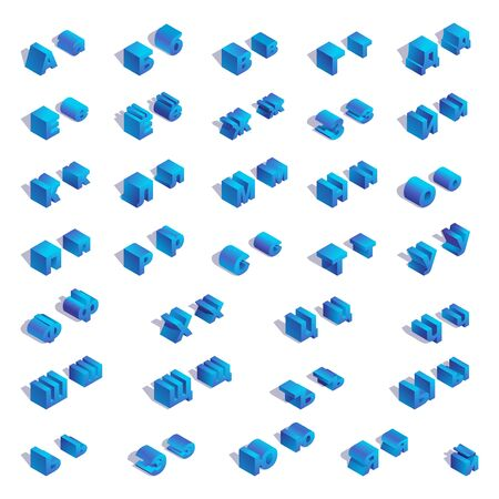 Russian or cyrillic isometric square blue alphabet with shadows. Illustration