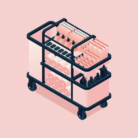 Hotel cart with towels and bottles isometric. 3d illustration good for housekeeping room service.