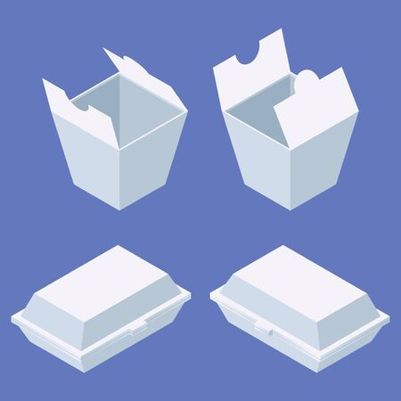 Fast food delivery package set for western and chinese food. White boxes isometric in various foreshortening. Illustration