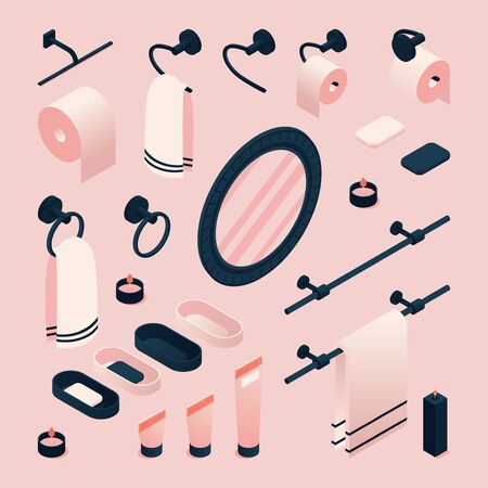 Isometric 3d illustration with pink bathroom accessories as mirror, towel, toothbrush. Illustration