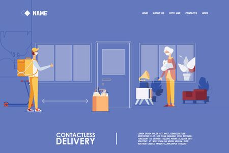 Landing page for quarantine contactless food delivery for old people and pensioners.