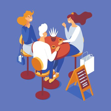 Group of people having brunch or coffee break. Isometric scene with man and women, cups and table. Concept illustration.