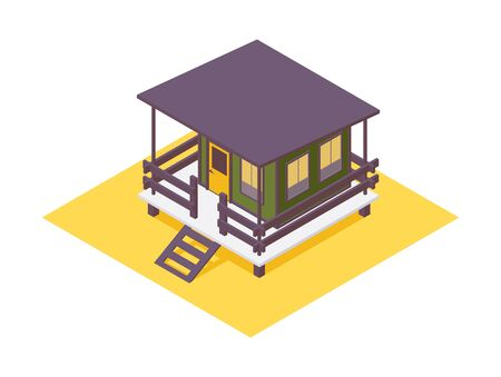 Hotel bungalow isometric. Green house with wooden terrace in 3d.
