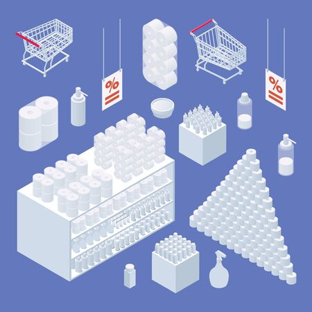 Supermarket shop interior elements in isometric style. White items on blue background. Vector collection.